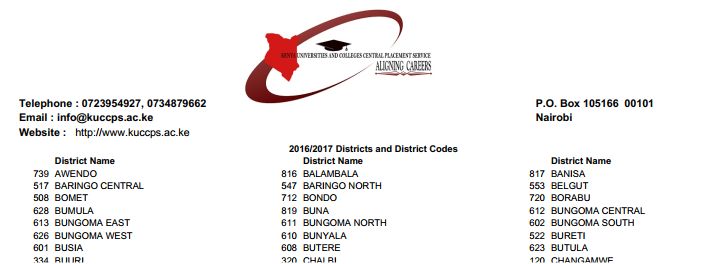 KUCCPS 2017/2018 POSTAL CODES, DISTRICT CODES AND COUNTY CODES