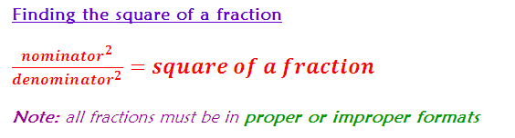 Finding the square of a fraction