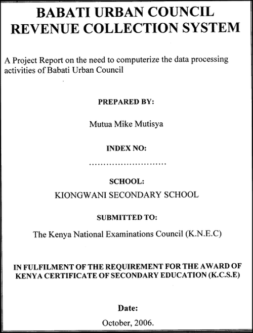 The Title page sample (the new kcse project guidelines)