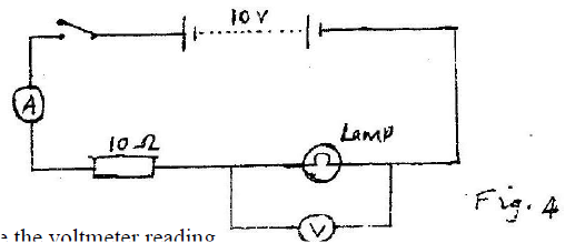 ​ Fig. 4 shows electrical circuit. When the switch is closed the ammeter reading is 0.3 A.