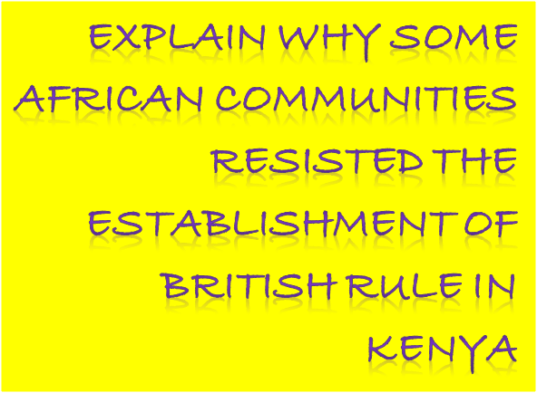 Explain why some African communities resisted the establishment of British rule in Kenya