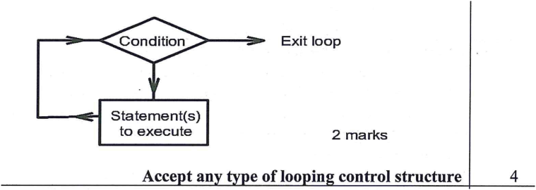 With the aid of a flow chart, describe a loop control structure as used in programming