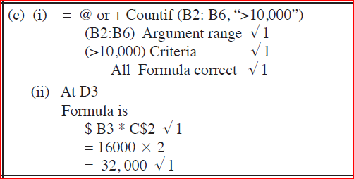 (i)Write a formula that will compute the number of items whose unit price is more than 10,000. (ii) If the formula = $R2 * C$2 was placed in cell D2, state the output if it was copied to D3. (d) A school administers examinations to all students in sciences, humanities and languages. Use the entities; EXAMINATIONS, STUDENTS, SCIENCES,HUMANITIES and LANGUAGES to illustrate a network database model.