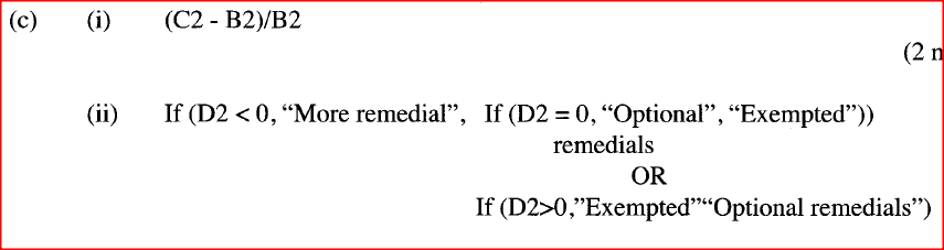A performance factor is obtained by subtracting the target score from the actual score and dividing the difference by the target score. Write a formula that uses cell references only that would be entered in cell: (i) D2 to compute the performance factor. (ii) E2 to display the statement 'more remedials' if the performance factor is less than zero, 'exempted' if the factor is greater than zero and 'optional remedials' if otherwise. (iii) D8 to display the best performance factor. ​​