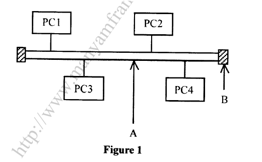 ​(b) Figure 1 shows a computer, network topology. Use it to answer the questions that follow.